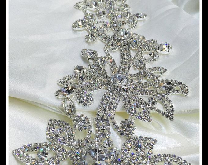 One of a kind elegant Rhinestone Bridal Sash Applique ~ Swarovski quality #0159