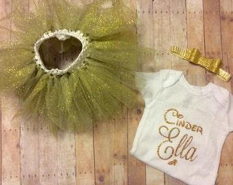 Cinder Ella custom personalized cinderella onesie, bow and tutu set for baby girl white gold glitter bodysuit