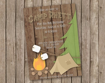 Camping Birthday Invitation with Fire and Marshmallows - printable 5x7