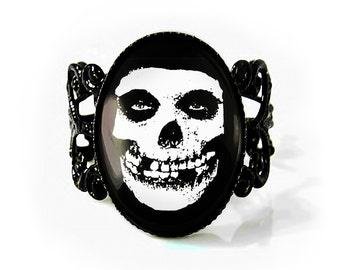 Jet Black Misfits Glenn Danzig Crimson Skull Adjustable Horror Punk Filigree Ring 179-JBFR