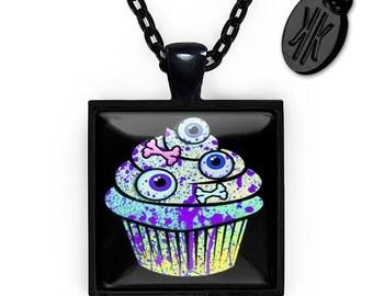 Jet Black Zombie Eyeball Cupcake Glass Horror Halloween Pendant Necklace 94-JBSPN