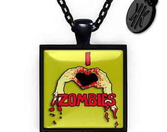 Jet Black I Love Zombies Glass Horror Halloween Pendant Necklace 103-JBSPN