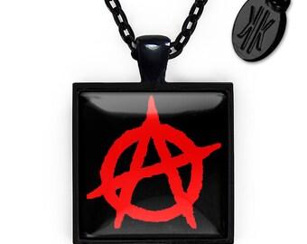 Jet Black Anarchy in the U.K. Punk Rock Anarchy Symbol Glass Pendant Necklace 181-JBSPN