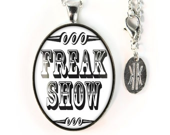 Large Silver Retro Freak Show Sign Glass Pendant Necklace 163-SLOPN