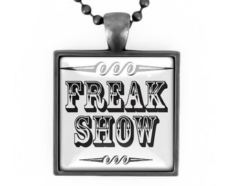 Gunmetal Black Retro Freak Show Sign Glass Oddity Pendant Necklace 163-GMSN