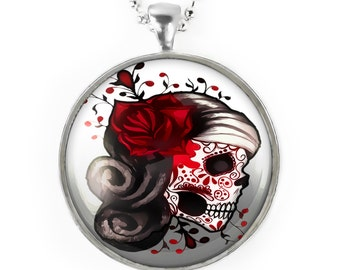 Large Silver Traditional Dia De Los Muertos Sugar Skull Girl Glass Pendant Necklace 73-SLRN