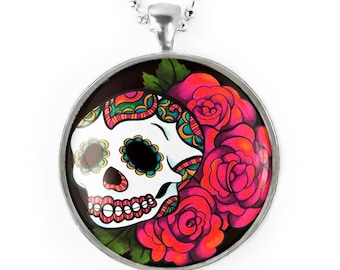 Large Silver Day of the Dead Sugar Skull Roses Glass Pendant Necklace 77-SLRN