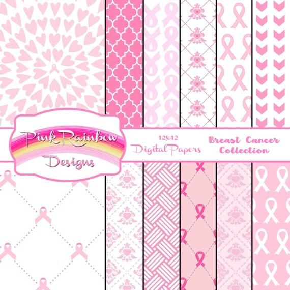 breast cancer awareness digital scrapbook paper pink ribbon