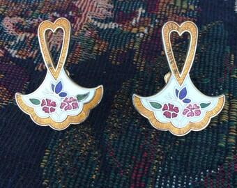 Vintage Enamel and Cloisonne Earrings