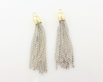 T000404/White/Gold plated over brass cap +painted Chain/Painted chain tassel pendant/6mm x 45mm approx/2pcs