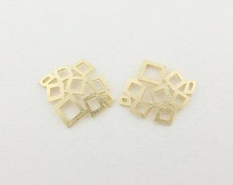 P0089/Anti-Tarnished  Matt Gold Plating Over Brass/Tetragon Connector/18 x 20mm/2pcs