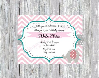 Pink and Grey Elephant Invitation