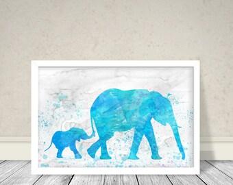 Elephants Watercolor, Animals Watercolor Art, Animals Art, Elephant mother and baby