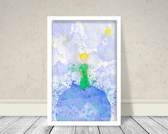 Watercolor The Little Prince Inspired Art, Watercolor Art, Kids Decor, Kids Room