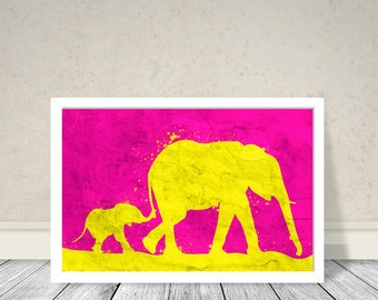 Baby and mother Elephants Art, Animals Art, Elephants Kids room, Wall Art, Kids Room decoration, Pink Yellow combination