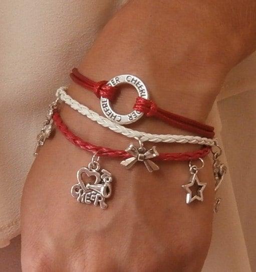Cheer Charm Bracelets: 5 COLORS Cheerleading Charm Bracelet Triple Set Cheerleading