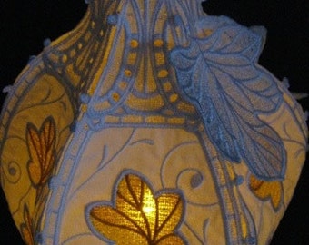 Fall Leaves Lace Pumpkin - Great with a battery operated tea light