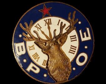 BPOE ~ Benevolent and Protective Order of Elks Vintage Radiator Badge ~ Historical Charity Organization