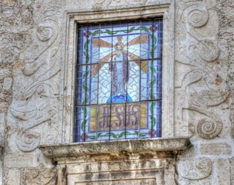 Photograph of a Stained Glass Window of Jesus at Church of the Third Order, Iglesia de la Tercera Orden, Merida, Yucatan, Mexico 201500070