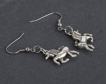 Unicorn Earrings, Fairytale Mythical Creature Dangle Earrings in Antique Silver