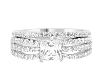 Triple Shank Princess Cut CZ Wedding Ring Bridal Set Cubic Zirconia Engagement Rings Sterling Silver Rhodium Square Stone