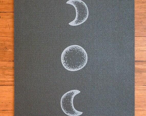 Moon Cycle Black Printed Yoga Mat Lunar Flow By Baphomats