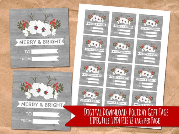 Items similar to printable christmas gift tags rustic Country christmas gifts to make