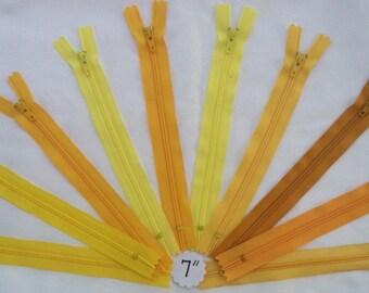 7 Inch YKK #3 Nylon Coil Closed-Bottom Zipper Lot of 10: Yellow