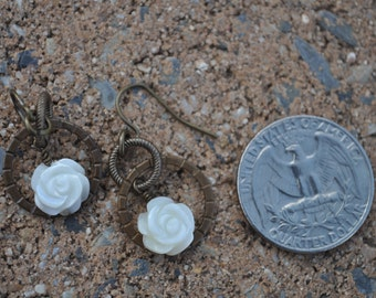 Ivory Rose Dangle Earrings
