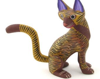 Striped Cat Alebrije Wood Carving Handcrafted Mexican Folk Art Sculpture