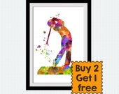 Golf player poster Golf player print Watercolor sport poster Colorful sport illustration Home decoration Kids room wall art Wall decor W363