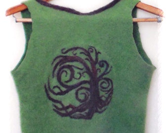 Tree of Life Green Cashmere Crop Top - Needle Felted