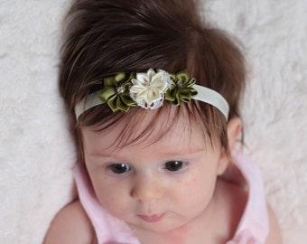 Ivory baby headband-Olive baby headband-ivory newborn headband-Olive newborn headband-Fall baby headband-Ivory baptism headband-ivory bow