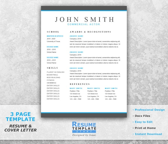 actor resume template word professional cover letter templates theater microsoft download