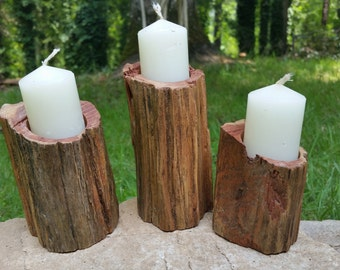 Cedar Candleholders- 3 piece set