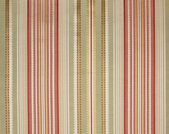 Designer Stripe Fabric - Pink Green Ivory Stripe - Upholstery Fabric - GreenHouse A3469 Spring