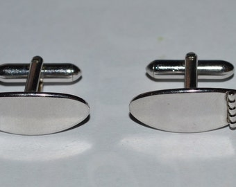 Mid-century cuff links, Silver oval