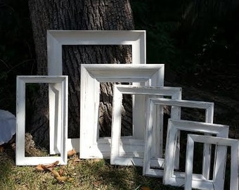 Picture Frames - Set Of 7 Picture Frame Set - Vintage Picture Frames - Shabby Chic Picture Frames -  Cottage Chic Picture Frames
