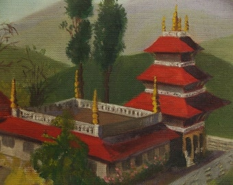 "Sale/Dated 48 Asian Oil Painting ""Buddhist Temple in Himalayas"" Signed  Tibet-Nepal"