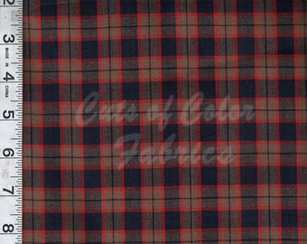 Navy Red and Khaki yarn-dyed plaid fabrics by the yard