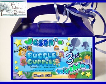 BUBBLE GUPPIES BIRTHDAY Goody Box Loot Favors Personalized with your childs name etc.