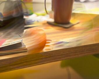 Work Table, Early Evening, fine art photograph, signed, custom printed, still life, modern art, home decor, desk, apple, golden, yellow