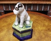 Vintage Takahashi Terrier Porcelain. Trinket ~Jewelry Box. Faux Crazing