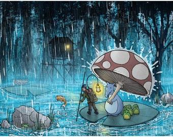 "11"" x 14"" Art Print - Journey in the Rain"