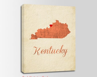 Kentucky Canvas Print, Kentucky Vintage Print, Kentucky Map, Personalized Art, Wall Decor, Vintage Map, Nursery Art, USA