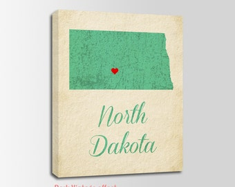 North Dakota Canvas Print, North Dakota Vintage Print, North Dakota Map, Personalized Art, Wall Decor, Vintage Map, Nursery Art, USA