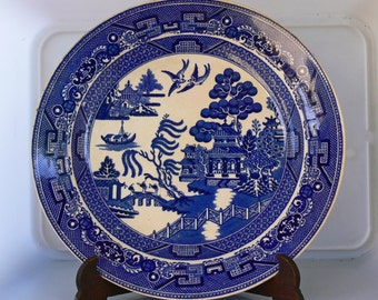 A blue-white Staffordshire Willow pattern plate guarantees Stafford, England. 1840 - 1850