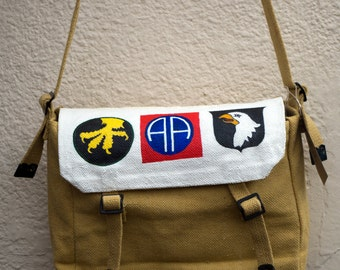 Hand Painted 'US Airborne' Canvas Haversack