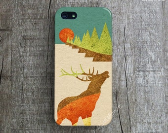 DEER iPhone 5 Case. Illustration iPhone 4 Case. Animal iPhone 5s Case. Nature iPhone 5C Case. Art iPhone 5s Case. Forest iPhone 4s Cover.