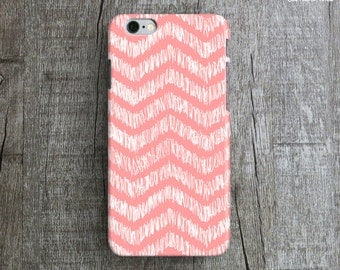 HAND ILLUSTRATED CHEVRON iPhone 6 Case. Coral iPhone iPhone6 Case. Pattern iPhone 6 Case. Hand Drawn Chevron iPhone 6 Plus Case. iP6 Cover.